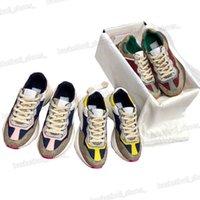 Mujeres Lujos Diseñadores Plataforma de zapatos Rhyton Sneakers Beige Cuero genuino para mujer Sneaker Designer Hombres Speed Trainers Tamaño 35-45
