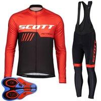 Spring / Autum Scott Team Mens Cycling Jersey Juego de camisas de manga larga camisas Pantalones de babero Traje MTB Trajes de bicicleta Carreras Uniforme de bicicletas Ropa Ciclismo S21042039