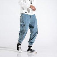 Moda Hombres Jeans Alta Calidad Fit Fit Big Bols Big Denim Pantalones de carga Homme Streetwear Hip Hop Pierna ancha Pantalones