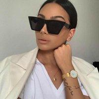 Luxuriöse Designer Sonnenbrille EVRFELAN RETRO SQUARE Marke Dessing Cat Eye Sonnenbrille Frauen Eyewear Chic Big Frame für Oculos UV400