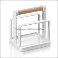 تخزين تنظيم Housekee سلال المنزل حددي mtifunction المطبخ الرف مقبض خشبي استنزاف الرف المنظم لقطع لوحة