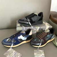 Mens Camuflagem Rockrunner Sneakers Luxo desginter sapatos Genuíno Sneaker Sneaker Stud Stud Lace Up Outdoor Casual Sapatos Top Qualidade Com Caixa De Presente 264