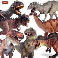 OENUX Prehistórica Jurásico Dinosaurios Mundo Pterodactyl Saichania Animales Modelo Figuras de acción PVC Juguete de alta calidad para niños Regalo 210830