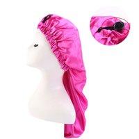 Kadınlar Ekstra Büyük Saten Elastik Uzun Uyku Kap Kıvırcık Saç Bonnet Gevşek Gece Uyku Şapka Elastik Bant Headwrap Katı Renk 267 W2