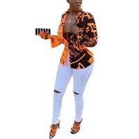Women Letter Printed Shirts Gradient Color Turn Down Collar Long Sleeve Women Blouse Shirt Fashion Femal Top Shirt Streetwear