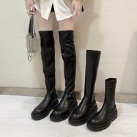Slim Flat Thigh High Boots Platform Women Thick Sole Over The Knee Shoes Black Winter Long 2021