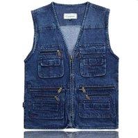 الرجال سترات أحدث تصاميم صدرية للرجال جينز الدينيم ذكر مع متعدد جيوب الأزياء سترة أكمام سترة الصيد سترة، GA140