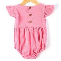 Летняя трепетание рукав новорожденного ребенка одинокий боди костюм младенческая девочка льняная простая ползунка одежда