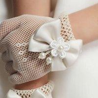 Five Fingers Gloves Girls Wedding Princess Mesh Bowknot Party Children Birthday Ceremony Celebration Accessories Girl Performance Glove