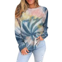 Women's Hoodies & Sweatshirts Ladies Thin Section Fashion Long Sleeve V Neck Creativity Tie-Dye Printing Casual Pullover Hooded Tops