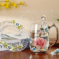 Creative Rose Enamel Crystal Tea Cup Coffee Mug Butterfly Painted Flower Water Cups Clear Glass With Spoon Set Mugs