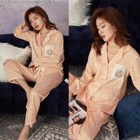 Casual Kadınlar Pijama Yumuşak Tekstil Homewear Basit Rahat Uyku Takım Uzun Kollu Tüm Sezon Pijama Mektup Gülümseme Yüz Baskılı Pijama Seti