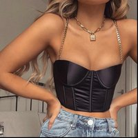 90s Corset Top Chain Womens Camis Strap Padded Bustier Cropped Summer Sexy Backless Cami Tops Y2K Streetwear Clothes Black White