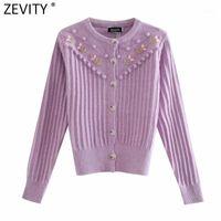 Zevity 2020 Femmes Vintage O Col Fleur Appliques Cardigans Cardigans Pull à tricoter Femelle Fourrure Sweet Fourrure Stripe Stripe Sweaters Tops S5391