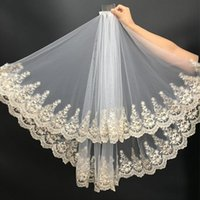 Bridal Veils Women Veil Gold 2 Layers Short Tulle With Comb Wedding Accessories Real Sample