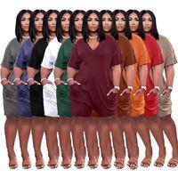 Kadın Tulumlar Yaz Tulum Şort Yelek Tshirt Seksi Gevşek Katı V Yaka Rahat Tulum Artı Boyutu S / M / L / XL / 2XL / 3XL