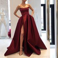 2021 Bordo Balo Elbiseleri ile Cepler Yan Yarık Straplez Saten Zarif Uzun Akşam Parti Abiye Şarap Kırmızı Kadınlar Örgün Elbise