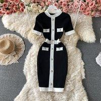 2021 Mode d'été Design Femme Robe à manches courtes Robe à manches courtes Couleur Taille haute taille Crayon Crayon Vestidos