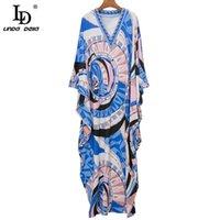 ديلا المرأة فضفاض فستان طويل الأزياء مصمم الصيف الخامس الرقبة الهندسة طباعة البوهيمي أنثى عطلة الطابق طول فساتين عارضة