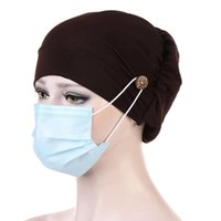 Ears Protection Headwrap Turban Hats With Button Wearing Masks Hair Accessories For Women Girls Bandana Outdoor Sport Hairbands
