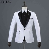 Men's Suits & Blazers Pijtrl men's clothing wedding dress, white blue red male blazer, stage with jacquard print, singing blazer GJLH