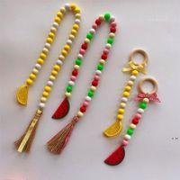 Perlas de madera tassel artesanía pendan decoración limón sandía de la fruta nórdica creativa cáñamo cuerda con cuentas infumbres colgando decorativos HWC7108