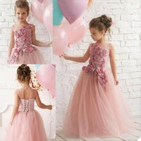 Girl's Dresses 3D Floral Flower Girl For Wedding Jewel Neck Custom Made Lace Up And Button Back Girls Pageant Dress Kids Birthday Gowns