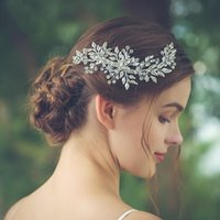 Hair Clips & Barrettes Silver Color Leaf Rhinestone Clip Headband Bridal Accessories Headpiece Accessoire Femme Bride Tiara