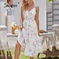 Повседневные платья Simplee Sexy V-образным вырезом Спагетти Ремешок Boho Пляжное платье Летние Женщины Распечатать Sundress Высокая талия A-Line Backbloet Vestidos 2021