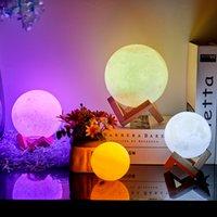 3D лунная лампа - аккумуляторный ночной свет, 16 светодиодных цветов, затемнение, с деревянной подставкой, дистанционное управление дистанционным сенсорным управлением - детский декор для вашего ребенка