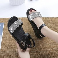 designer Sandals Beach Sandal Woman Luxury Low-Heeled Shoes With Strap Suit Female Beige Rhinestone 2021 Girls Clear Fashion Buckle