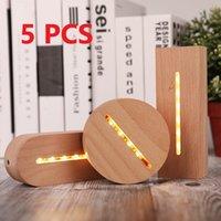 5 adet 3D Ahşap Lamba Taban LED Masa Gece Işık Bazları Akrilik Için Sıcak Beyaz Lambalar Tutucu Aydınlatma Aksesuarları Monte Esaslı Toplu