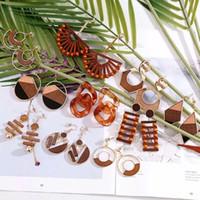 Dangle & Chandelier 2021 Vintage Handmade Wooden Acrylic Geometric Drop Earrings For Women Boho Brown Weave Wood Statement Earring Jewelry G