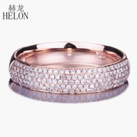 Cluster Rings HELON Solid 14K Rose Gold AU585 SI H 0.39ct Genuine Natural Diamonds Engagement Wedding Ring Women Band Jewelry Setting