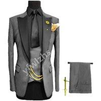 Customize One Button Handsome Peak Lapel Groom Tuxedos Men Suits Wedding Prom Dinner Man Blazer(Jacket+Pants+Tie+Vest) W900