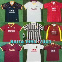 Maillot de foot rétro Roma 1996 1997 1998 1999 2000 1992 1994 TOTTI NAKATA BATISTUTA Candela Montella BALBO 91 92 94 rome Maillot de foot vintage Maglia da calcio