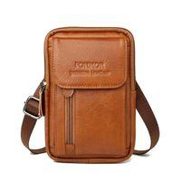 Sacos de cintura 100% Genuine Leather Wasit Bag para Homens Telefone Móvel Fanny Pack Mini Bolsa de Cinto Caso Capa Caso Capa Holder Titular Travel