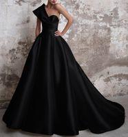 Vestidos de Gala Satin Prom Платья длинные 2021 Черные Формальные платья Одно Плечо Баельное платье Abiye GECE ELBISSEI