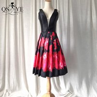 Black Short Homecoming Dress Satin Red Flowers Prom Gown Box Pleat Print Party Dress Sleeveless Pattern Girl Short Evening Gown H0916