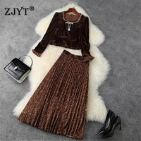 Women Winter Designers Runway Elegant Celebrity Party Two Piece Outfits Vintage Beading Velour Top And Pleated Skirt Suit Sets Women's Track