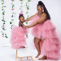 Sweet Pink Puffy Hi Low Tiered Ruffle Girls Pageant Dresses Strapless Flower Girl Birthday Party Dress Custom Made