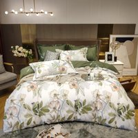 Bedding Sets 100% Egyptian Cotton Plant Flower Printing Set Queen King Duvet Cover Size Fitted Bed Sheet Pillowcases Home Textiles