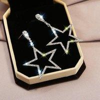 Dangle & Chandelier KSRA Needle Korean Fashion Temperament Long Pentagram Pendant Earrings Personality Simple Wild Exaggerated Big Jewelry