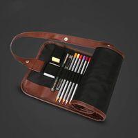 1pc di alta qualità retrò tela sacchetti cosmetici artisti custodia a matita 24 fori rotoli penna penna sacchetto per artisti trucco studenti trucco