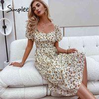 Simplee Casual Chiffon Gedruckt V-Ausschnitt Hauchhülsenkleid Hohe Taille Sommer Frauen Sommerkleid Mode Outfit Damen Mid Vestidos 210413