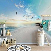 Wallpapers 3d Sea Blue Sky Bird Po Wallpaper Wall Art Decor Bedroom Papers Roll Mural Decals Custom Scenery