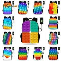 17 inch Fidget push bubble toys 3D Printed backpacks kids students school bag book packs rainbow bubbles USB charing port earphone hole shoulder bags tote