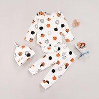 Clothing Sets 3Pcs Autumn Infant Baby Boys Girls Halloween Outfits , Cartoon Pumpkin Print Long Sleeve O-neck Romper + Jogger Trousers+ Hat