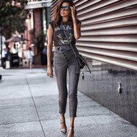 Streetwear Yüksek Bel Ayak Bileği Uzunluğu Kot Bodycon Kadın 2020 Sonbahar Elastik Çoklu Düğme Gary Kalem Denim Pantolon Kadınlar Anne Jeans1