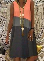 2021 spring 5XL women's 3-color printing sleeveless V-neck knee-length loose casual dress